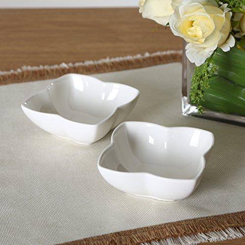 """Solecasa 4"""" Floral Porcelain Square Bowls Microwave-safe Ceramic Soup/cereal Dining Bowl, Set Of 2, White"""