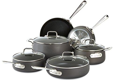 All-Clad E785SC64 HA1 Hard Anodized Nonstick Dishwasher Safe PFOA Free Cookware Set 10-Piece Black