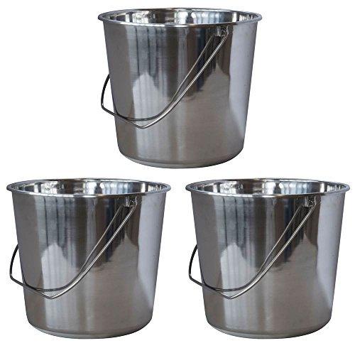 Medium Stainless Steel Bucket - Set of 3