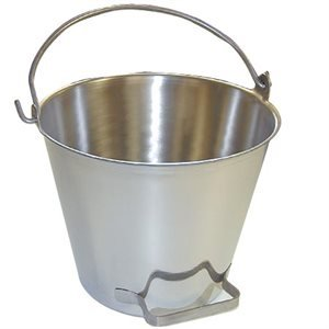 Premium Stainless Steel Pail Vetmilk Bucket Made in Usa Completely Seamless Thick 9-20 Qt Sizes 20 Qt Pail with Side Pour Handle