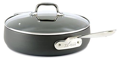 All-Clad E7853364 HA1 Hard Anodized Nonstick Dishwasher Safe PFOA Free Saute Pan Cookware 4-Quart Black