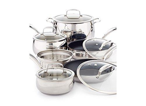 Belgique Stainless Steel 11 Piece Cookware Set with Nonstick Saute Pan Fry Pan
