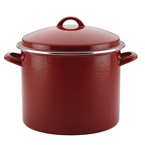 Paula Deen 46324 Enamel on Steel Stock PotStockpot with Lid 12 Quart Red Speckle