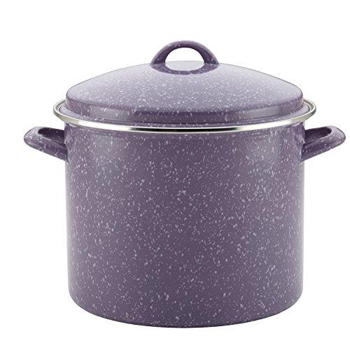 Paula Deen 46325 Enamel on Steel Stock PotStockpot with Lid 12 Quart Lavender Speckle