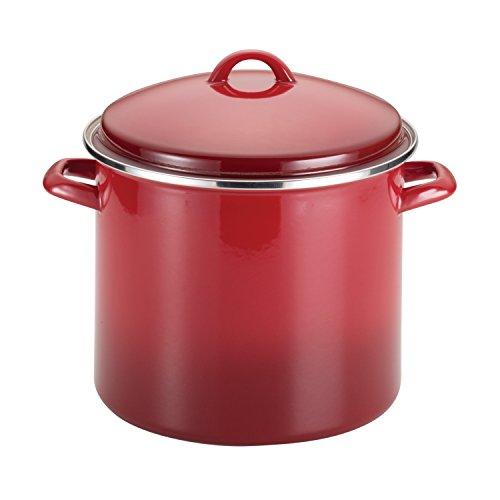 Rachael Ray 50497 Enamel on Steel Stock PotStockpot with Lid 12 Quart Red Gradient