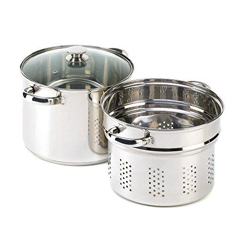 GHP Kitchen 3Pcs Multi-Purpose 8-Quart Pasta Cooker Stock Pot Steamer Combo Cookware Set
