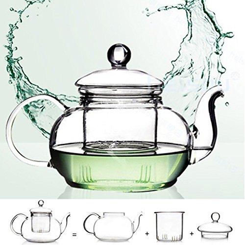 KING DO WAYHeat Resistant Glass Teapot with Infuser Coffee Tea Leaf Herbal 350ML-1000ML