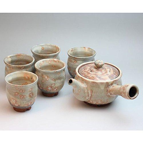 Japanese ceramic Hagi-ware Set of gohonte kyusu teapot and 5 teacups with wooden box shuto61112