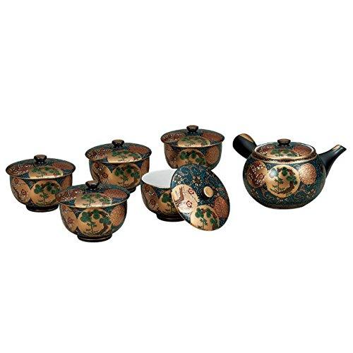 Japanese drawn Ceramic Porcelain kutani ware Japanese kyusu teapot cup set with wooden box Shochikubai Japanese ceramic Hagiyakiya K4-813