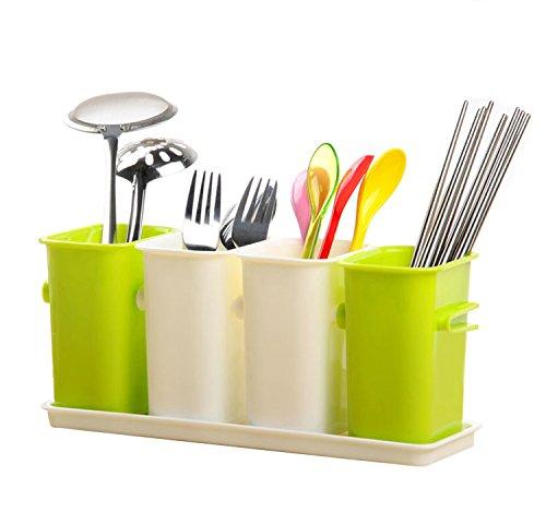 Honla Interlocking Kitchen Cooking Utensils Holder,plastic Flatware Caddy With Tray Set,4 Compartment Storage