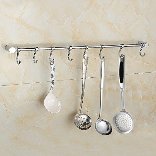 Vdomus Kitchen Utensil Rack Rail Storage Organizer Holder Spoons Pots Racks Hanger Wall Mounted With 8 Hooks
