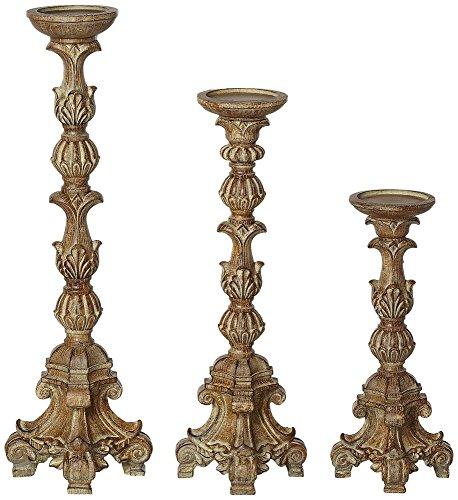 Exotic Carved Pillar Candle Holder Set of 3