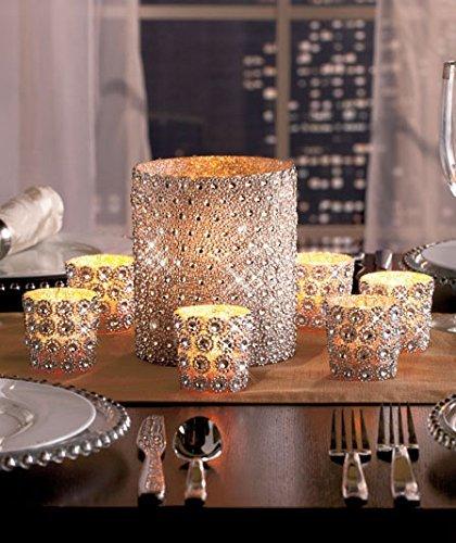 KnlStore Set of 7 Silver Beaded Elegant Sparkling Gems Pillar Votive Candle Holder Centerpiece Decoration