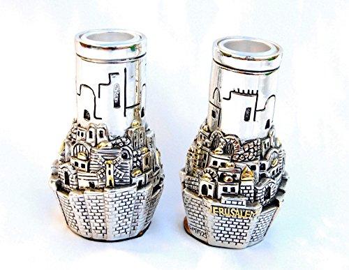 Silver Candlesticksandles Holders Jerusalem Shabbat  Gift 12 Candle