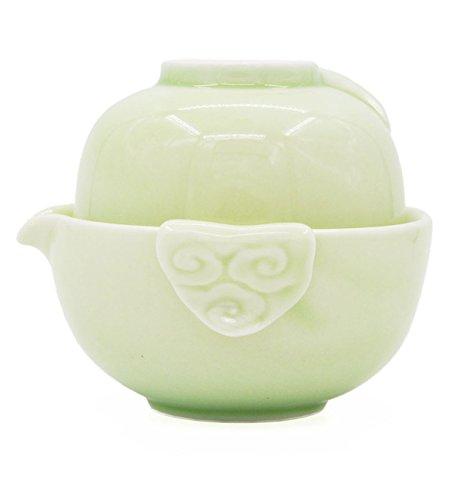 Vegali Chinese Celadon Pumpkin-Style Portable Gongfu Tea Set Celadon-B