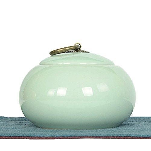 Ceramic tea caddy tins tea caddie tea set tea jar tea storage container Multi colored porcelain white light green light cyan