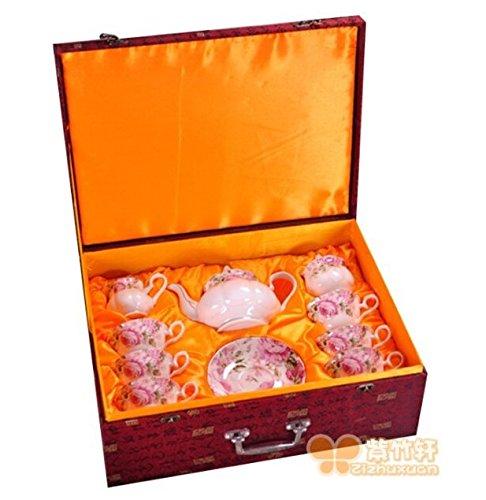 15 Piece Porcelain Coffee Tea Service Sets  Pink White Elegant Hand Painted Gift Box  Pots Plates