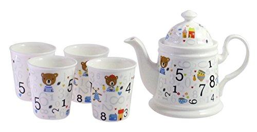 JustNile Digital Teddy Porcelain Tea Set Tea Service Tea For Four 6 pieces