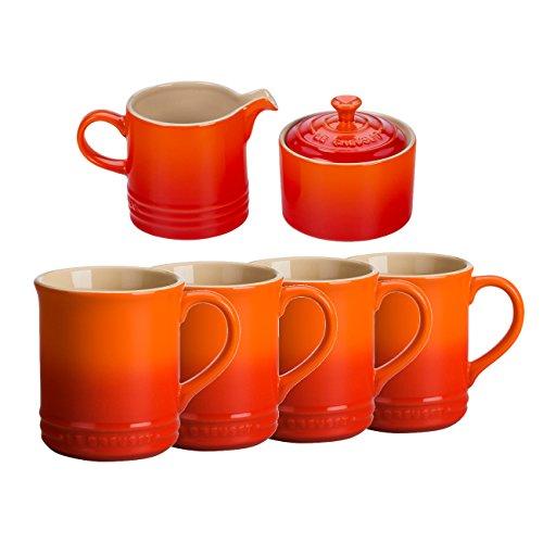 Le Creuset Flame Stoneware 6 Piece Coffee or Tea Service Set with Mugs and Cream Sugar Set