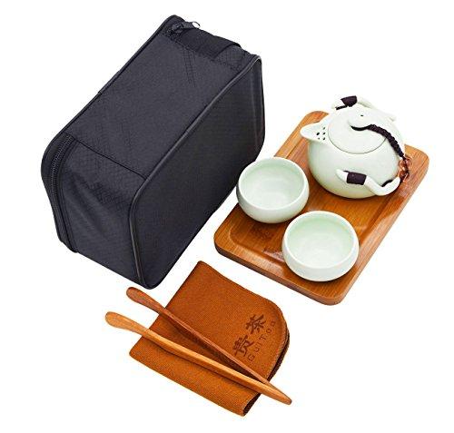Vegali Chinese  Japanese Style Portable Travel Kungfu Tea Set-100 Handmade Green