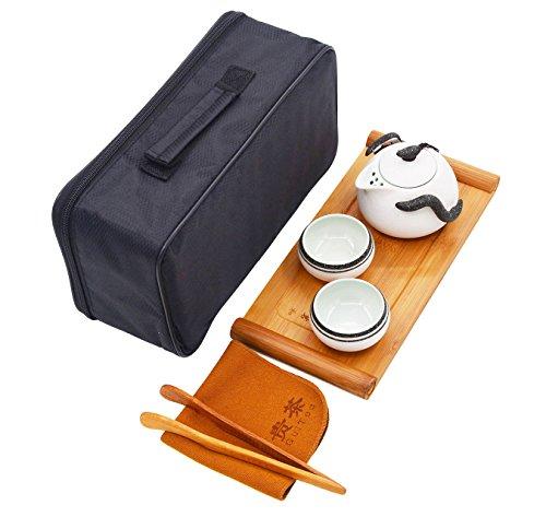 Vegali Chinese  Japanese Style Portable Travel Kungfu Tea Set-100 HandmadeV4 White-B