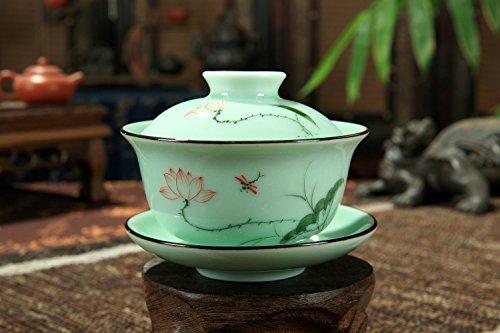 Chinese Style Celadon Gaiwan Teacup Coffee Cup Hand Paintedlotus
