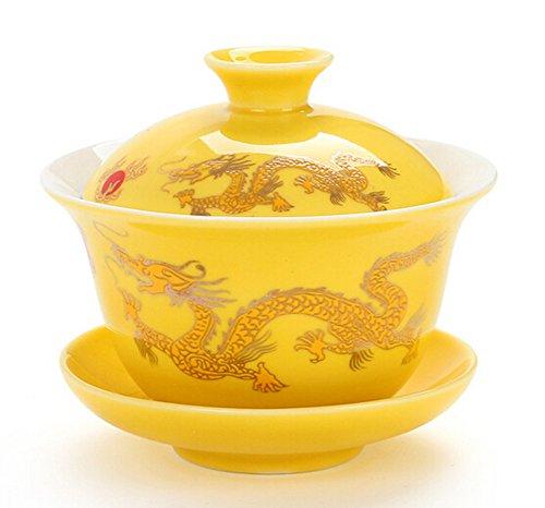 Moyishi Chinese Porcelain Gaiwan Golden Dragon Tradition Sancai Tea Cup Tea Set Best Gift