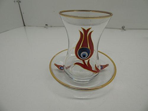 Art Glass Cute Red Evil Eye Tulip Design Turkish Tea Set Set of 12