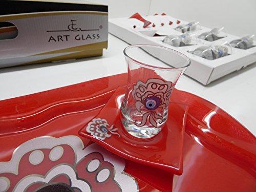 Art Glass Evil Eye Design Tea Set Set of 13 Turkish Tea Set Red Color PLKI02