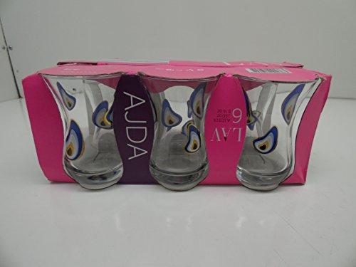 Gurallar Lav Evil Eye Design Turkish Tea Set Set of 6
