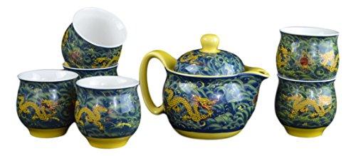 7 Pc Premium Green Porcelain Tea Set Teaset Fine Tea Pot Tea Cups Traditional Blue Sea Golden Dragon