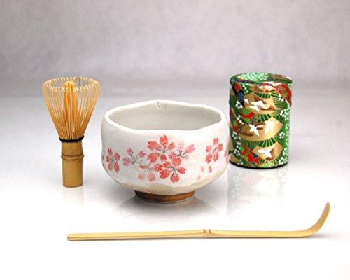 Ryu Mei Beginner Kyoto Ceremony Green Tea Set with Organic Matcha Green Tea Powder Chawan Tea Set Bowl Bamboo Spoon Bamboo Whisk and a Washi Caddy Tin 527-24 Japan Green Crane