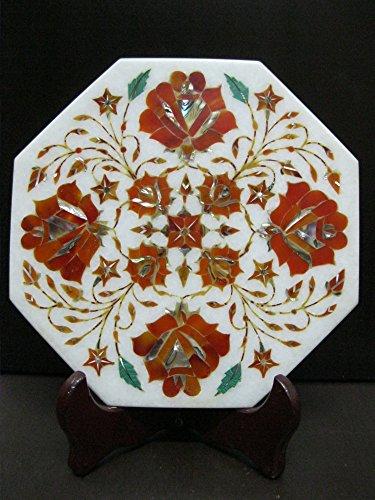 Antique Style Kettle Cum Teapot Stand Marble Pietra Dura Semi Precious Inlay Art Elegant Useful Decorative Gift Atrefacts Carnelian-Orange Red