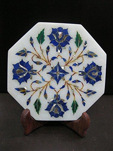 Kettle Cum Teapot Stand Marble Pietra Dura Semi Precious Inlay Art Elegant Useful Decorative Gift Atrefacts 5 Lapis Lazuli-Blue Stone