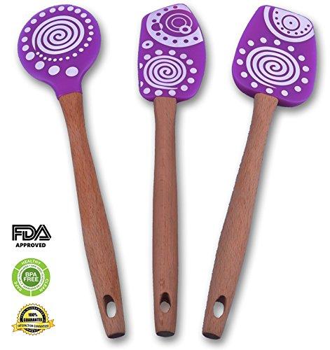 Zahik Silicone Spatula Utensil Set, 3-piece, With Long Ergonomic Wooden Handle, Silicon Scraper, Fold, Mix, Turn