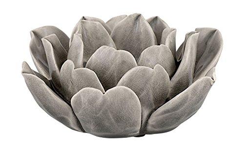 True Grit Fine Ceramic Lotus Petal Style Pillar Decorative Candlestick Holder 4 12 Height x 2 38 Width