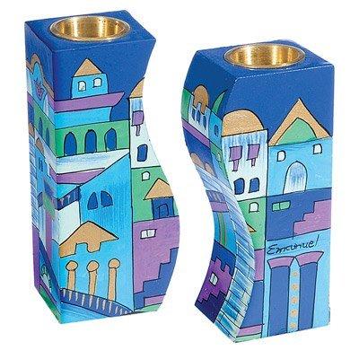 Shabbat Candlesticks Holders - Jewish Set - Yair Emanuel FITTED SHABBAT CANDLESTICKS JERUSALEM BLUE Bundle
