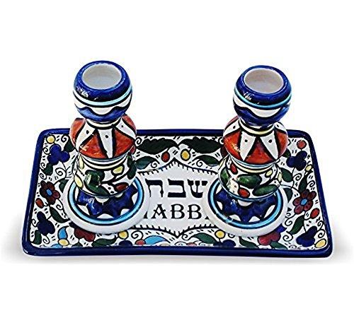 Shabbat Candlesticks Jewish Candlesticks for Shabbath Armenian Ceramics Flowers Design by Bethlehem Gifts TM