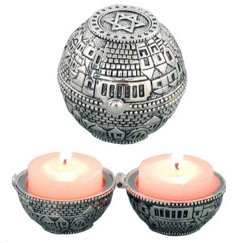 Travel Shabbat Jewish Candlesticks with Jerusalem View and Magen David Stars