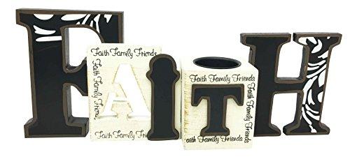Inspirational Faith Word Block Family Friends Wooden Candle holder Figurine Mantle piece Decoration Shelf Decor