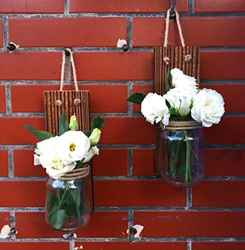Rustic Handmade Wall Sconce Set of 2 Hanging Mason Jar Sconces Wooden Candle Holder Mason Jar Candle Holder Wooden Wall Sconce Rustic Home Decor