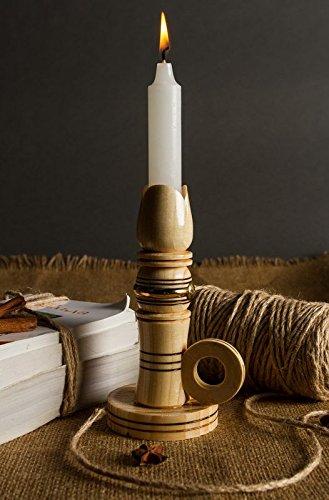 Wooden beige handmade candle holder candlestick house decor