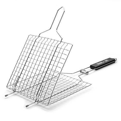 ELEOPTION BBQ Barbecue Grilling Basket Roast Folder Tool with Wooden Handle 2