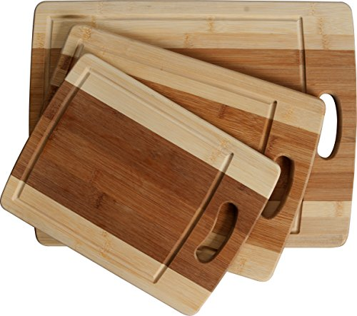 Cc Boards - 3-piece Bamboo Cutting Board Set: Three Convenient Wood Sizes. Attractive Two-tone Wooden Chopping