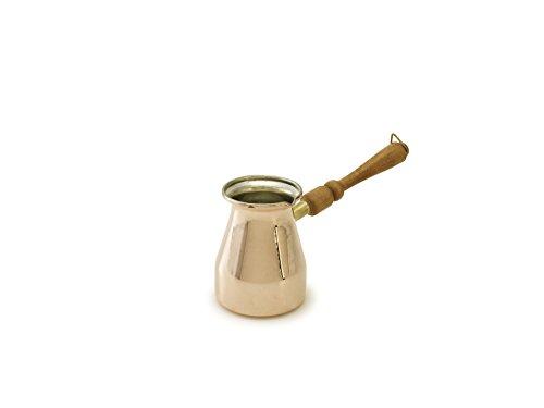 Kuprum 8698213273025 Handmade Turkish Coffee Pot Arabic Greek Stovetop Coffee Maker Ibrik Cezve Briki with Stay Cool Wooden Handle Large Copper