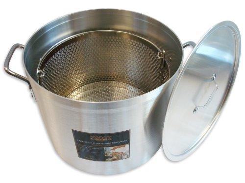 Alegacy EWSB20 Eagleware Professional Aluminum Stock Pot with Straining Basket and Lid 20-Quart