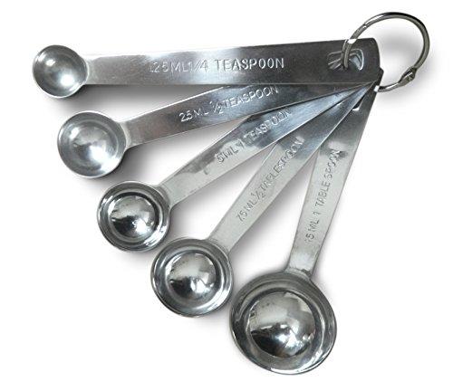 Wrenwane Measuring Spoons - Set Of 5 Stainless Steel Engraved Spoons
