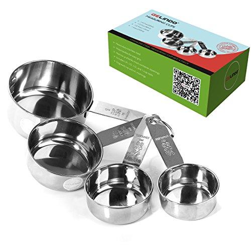 Gelindo Stainless Steel Measuring Cups - 4pcs (60ml/80ml/125ml/250ml)- Food Grade Metal Measure Cup - Lifetime