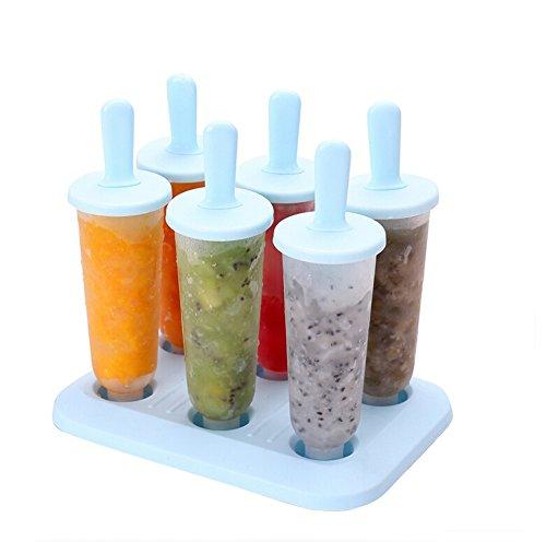 Ewandastore DIY Ice Cream Pop Molds Maker Popsicle Molds Frozen Ice Cream Yogurt Jelly Pop Mold Lolly Mould Tray PanSet of 6 pcsRoundBlue