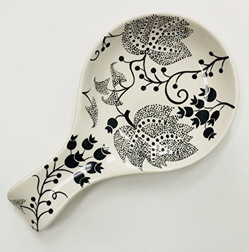 White With Black Flower Leaf Design Ceramic Spoon Rest  9 inches x 5 inches